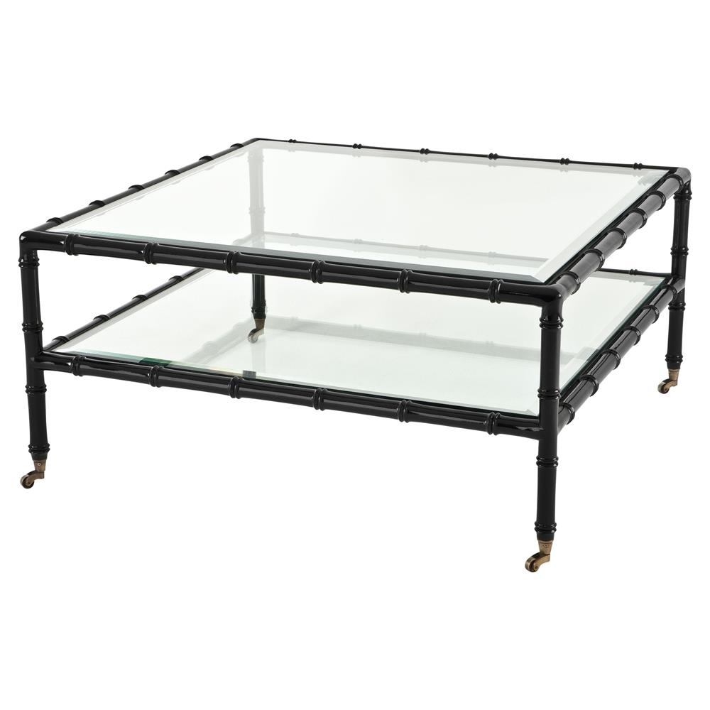 Eichholtz Mullins Global Bazaar Beveled Glass Top Square Black Coffee Table Kathy Kuo Home