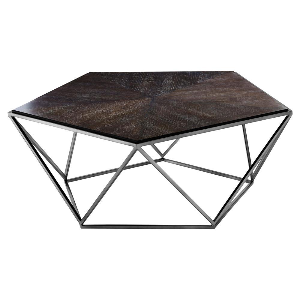 Eichholtz Pentagon Modern Classic Charcoal Oak Veneer Black Nickel Coffee  Table | Kathy Kuo Home ...