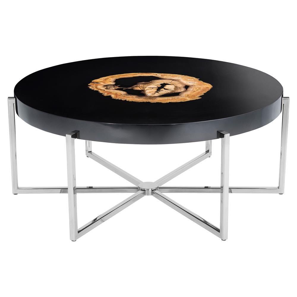 Eichholtz pompidou hollywood regency high gloss black petrified eichholtz pompidou hollywood regency high gloss black petrified wood round coffee table kathy kuo home geotapseo Images