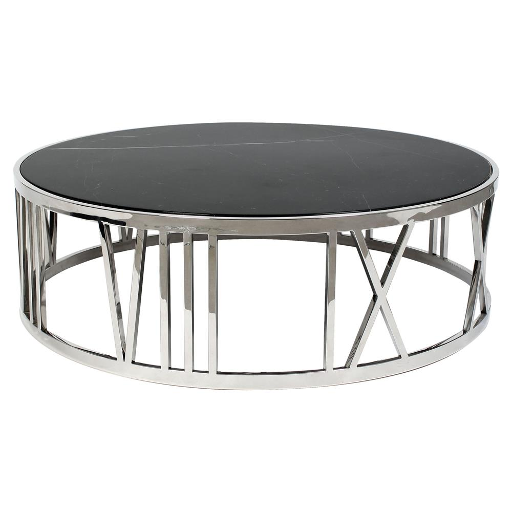Stone Coffee Tables With Modern Style: Eichholtz Roman Modern Classic Black Marble Top Round