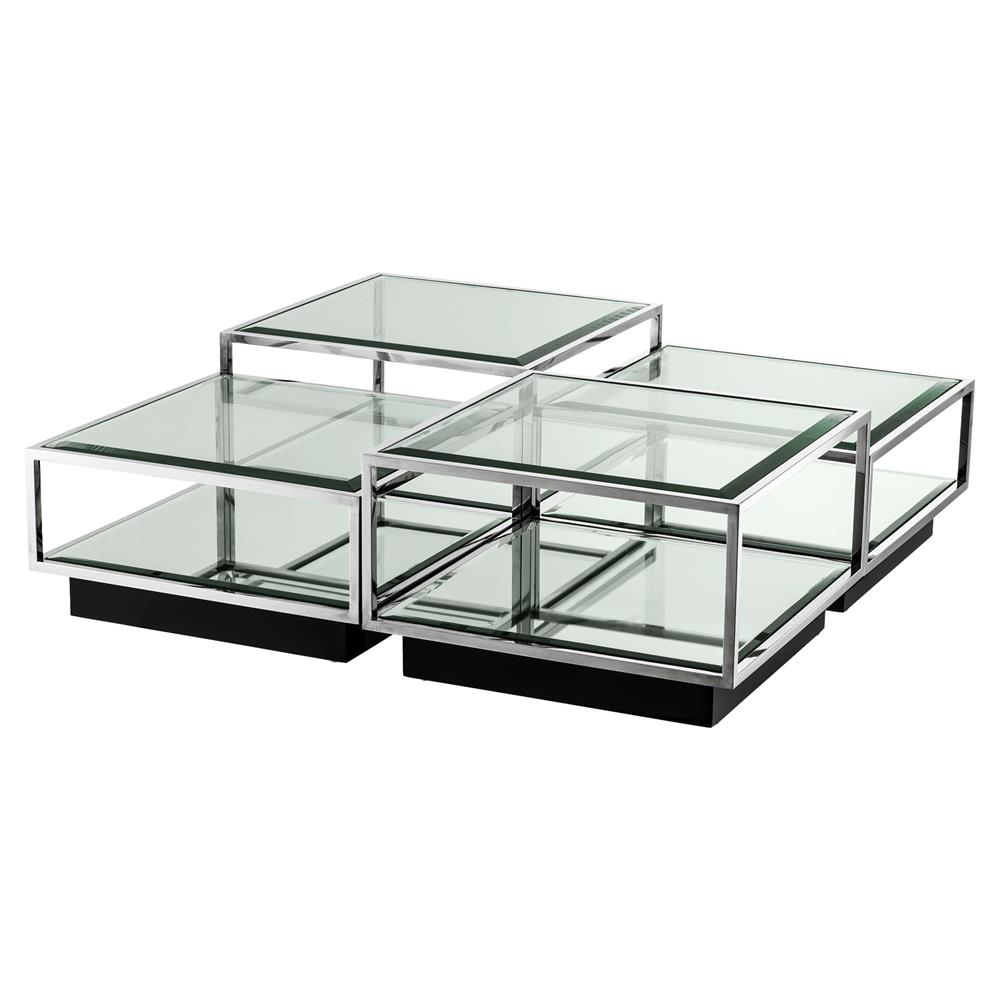 Tortona Hollywood Regency Silver Beveled Glass Top Multi Level Square Coffee Table Set Of 5