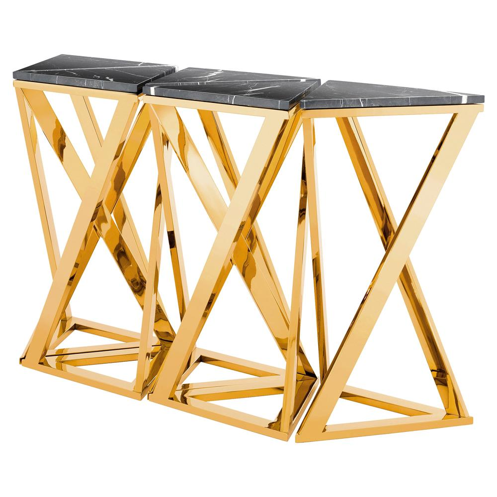 Eichholtz Galaxy Modern Classic Black Marble Gold Console Table   Set Of 5  | Kathy Kuo ...