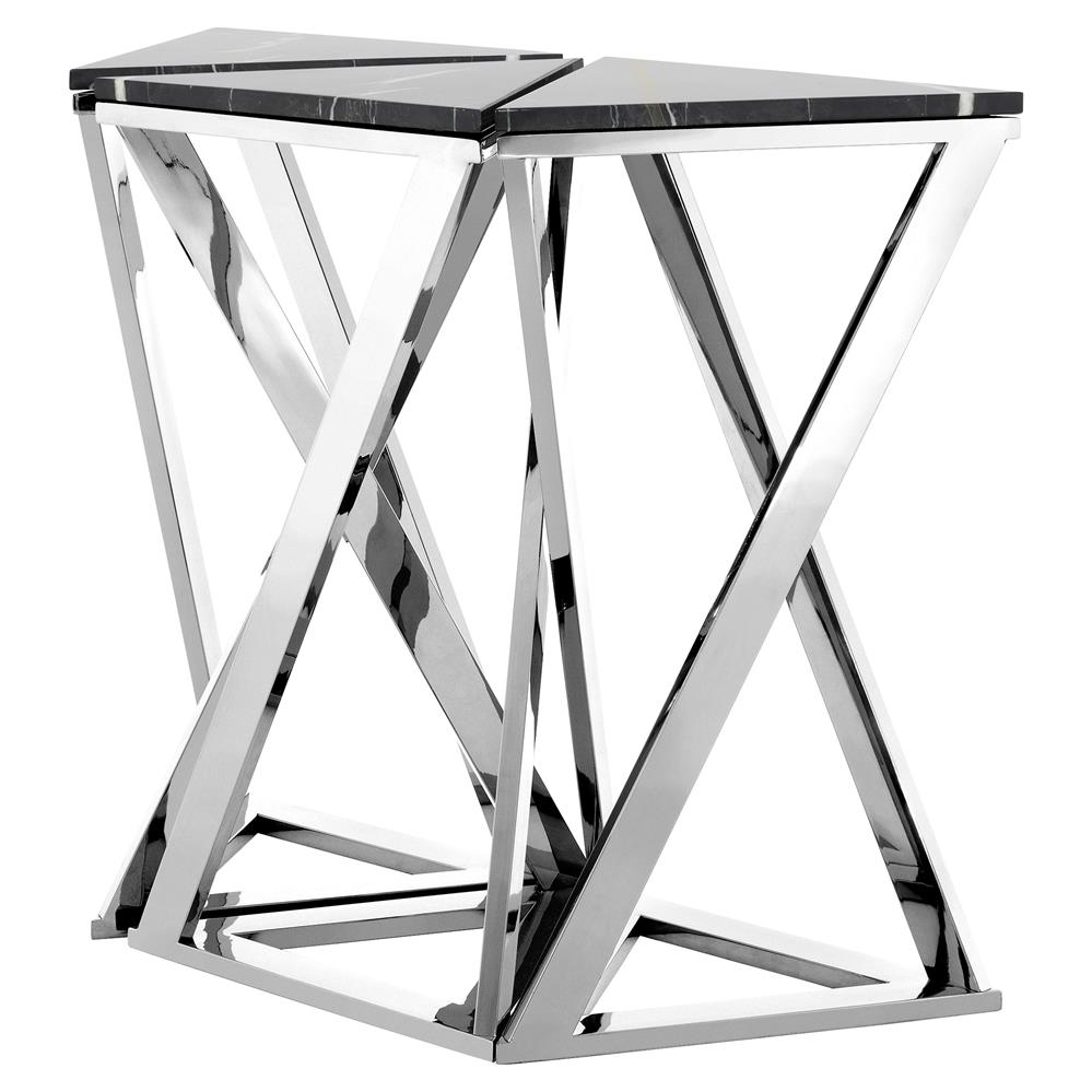 Eichholtz Galaxy Modern Clic Black Marble Silver Console Table Set Of 3 Kathy Kuo