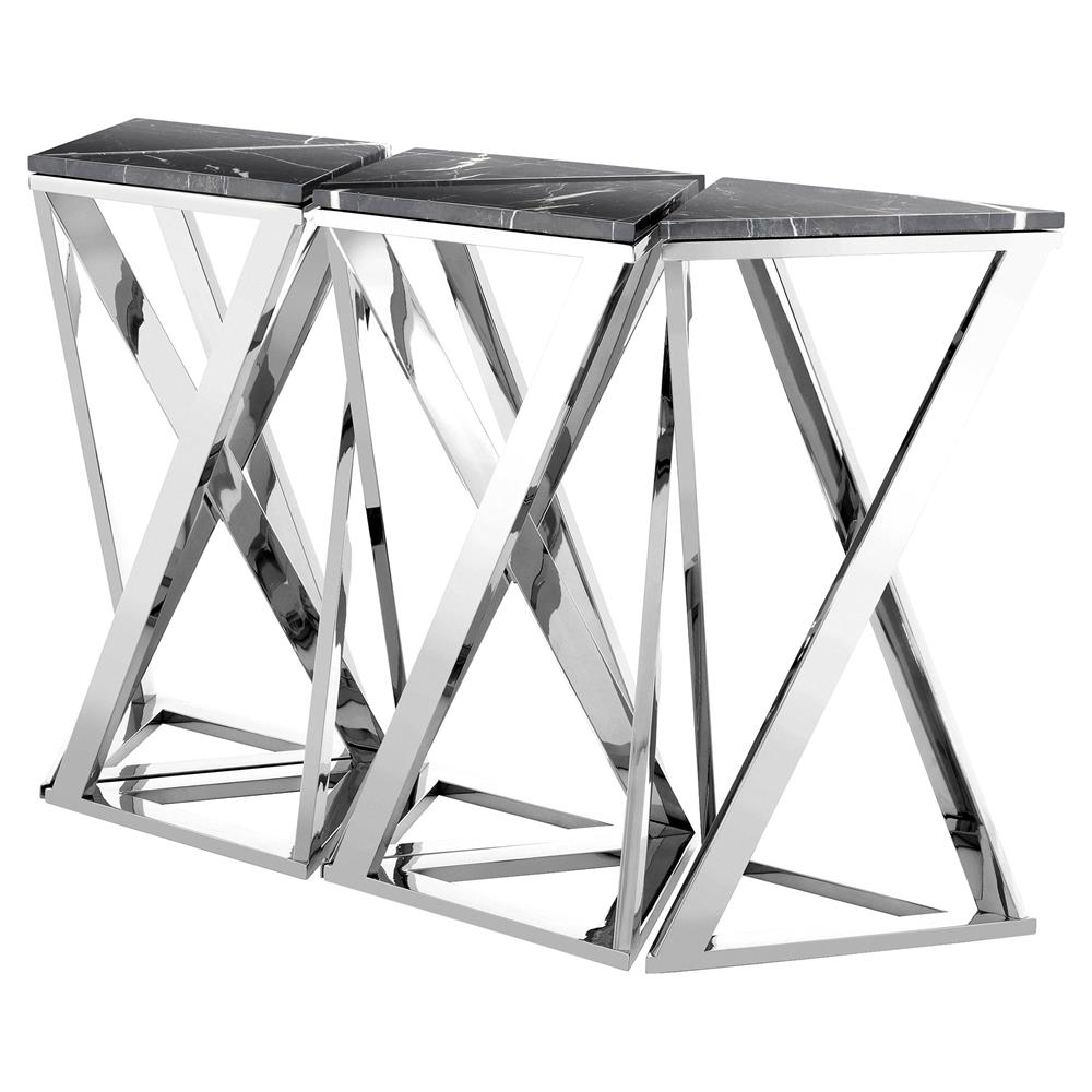 Eichholtz Galaxy Modern Classic Black Marble Silver Console Table   Set Of  5 | Kathy Kuo ...