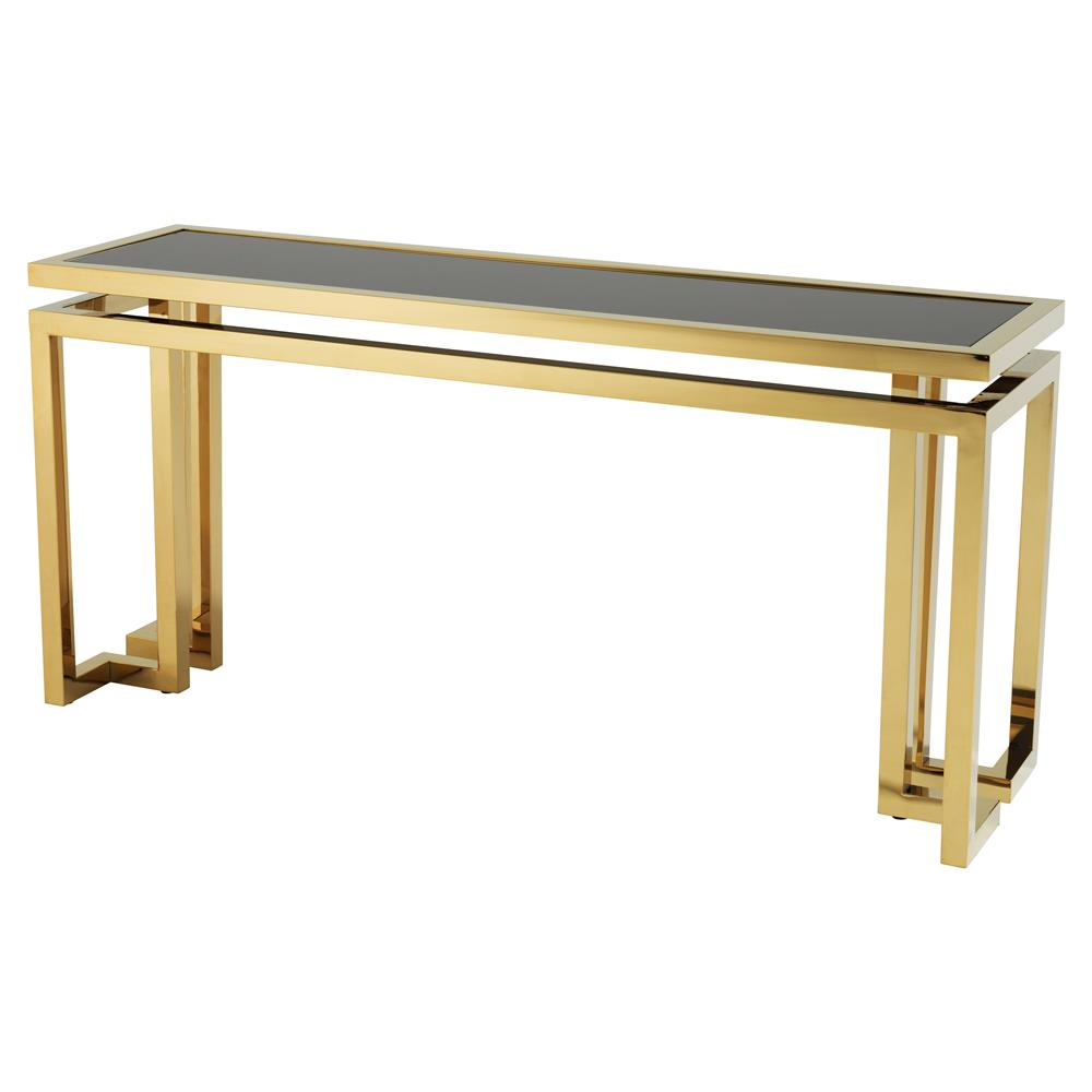 Eichholtz Palmer Modern Clic Rectangular Black Gl Top Gold Console Table Kathy Kuo Home
