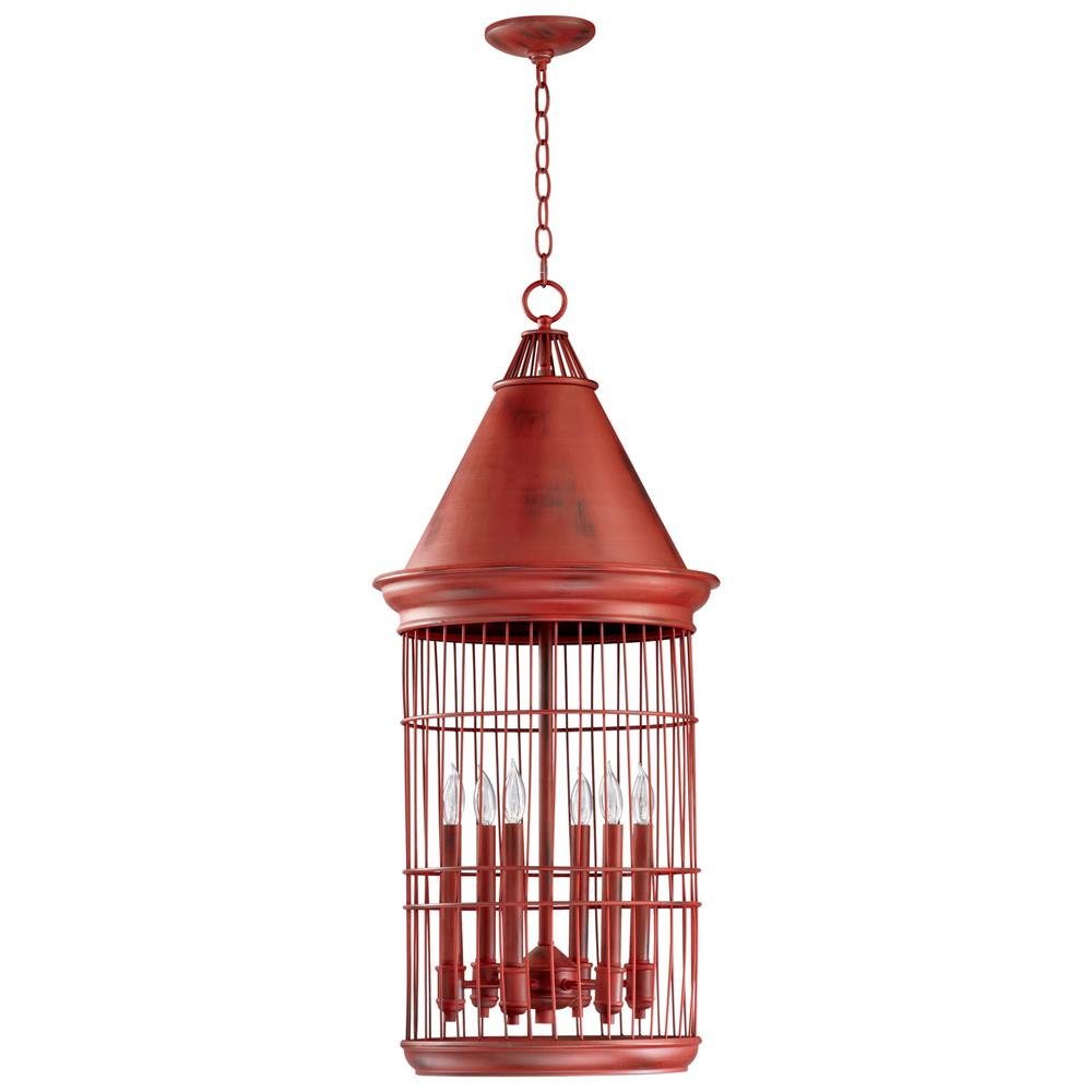 conical red bird cage 6 light entryway chandelier kathy. Black Bedroom Furniture Sets. Home Design Ideas