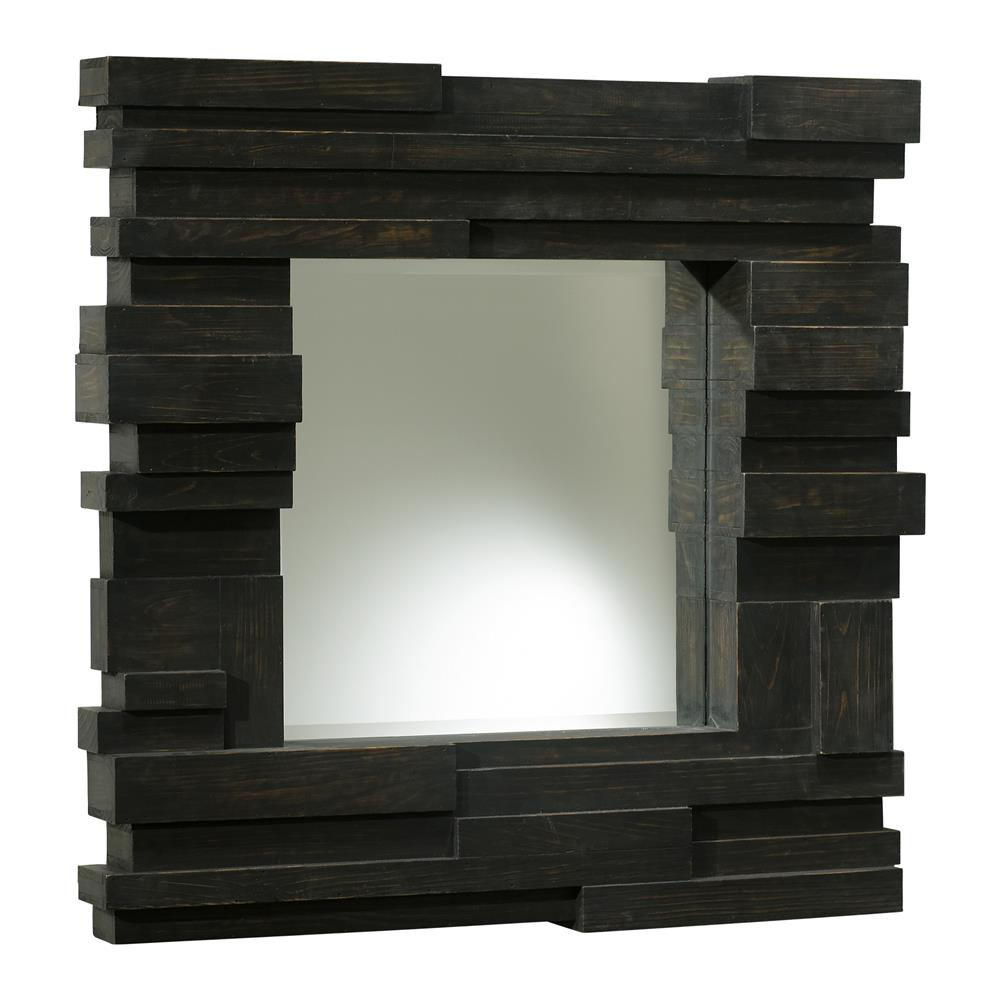 Stackato solid chunky rustic espresso brown wood large for Large square mirror