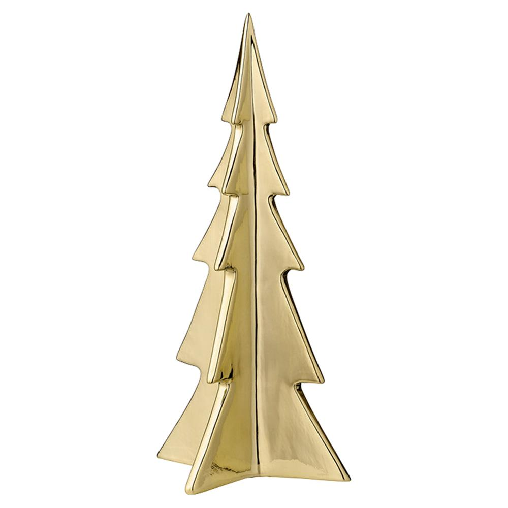 Small All Is Merry Gold Porcelain Christmas Tree Decorative Sculpture Set Of 6 Kathy