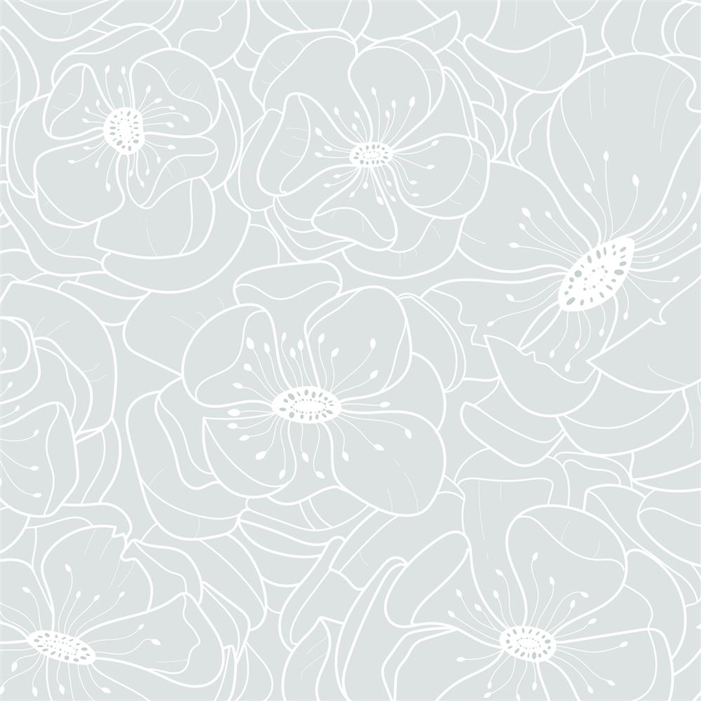 . Anewall Hibiscus Modern Classic Delicate Soft Blue Floral Wallpaper