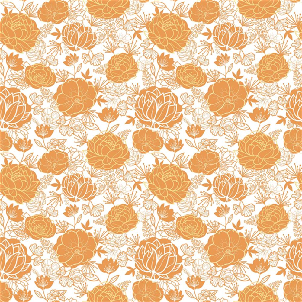 Anewall Titian Modern Classic Burnt Orange Floral Wallpaper