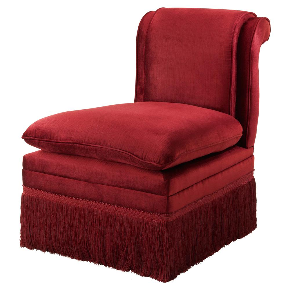 Eichholtz Boucheron French Country Red Fringe Armless Slipper Chair | Kathy  Kuo Home ...