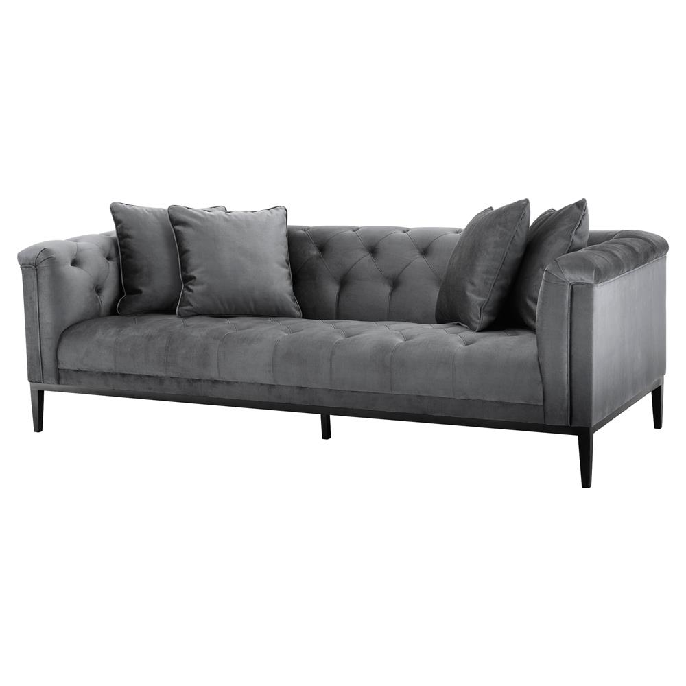Eichholtz Cesare French Country Tufted Granite Grey Modular Sofa Kathy Kuo Home