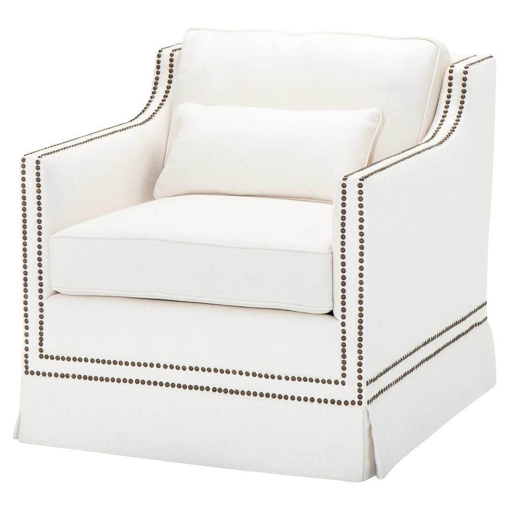 Fine Eichholtz Frazer Modern White Herringbone Linen Nailhead Trim Accent Club Chair Pabps2019 Chair Design Images Pabps2019Com
