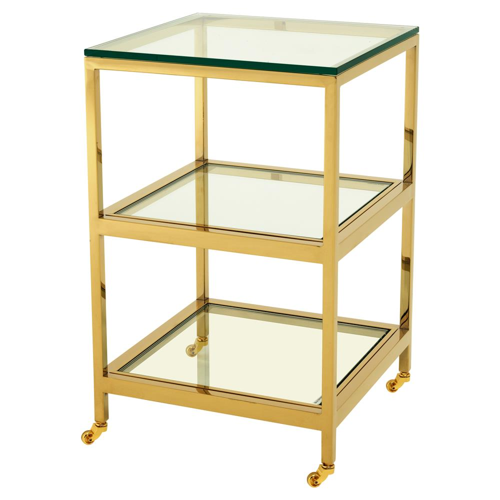 Hutton Hollywood Regency Gold Tiered Square Side End Table