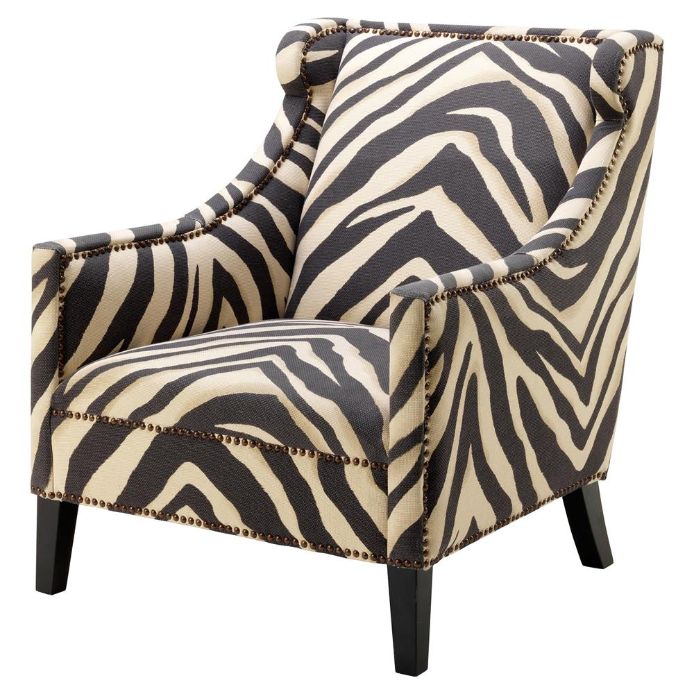 Eichholtz jenner modern classic zebra print nailhead trim accent club chair kathy kuo home