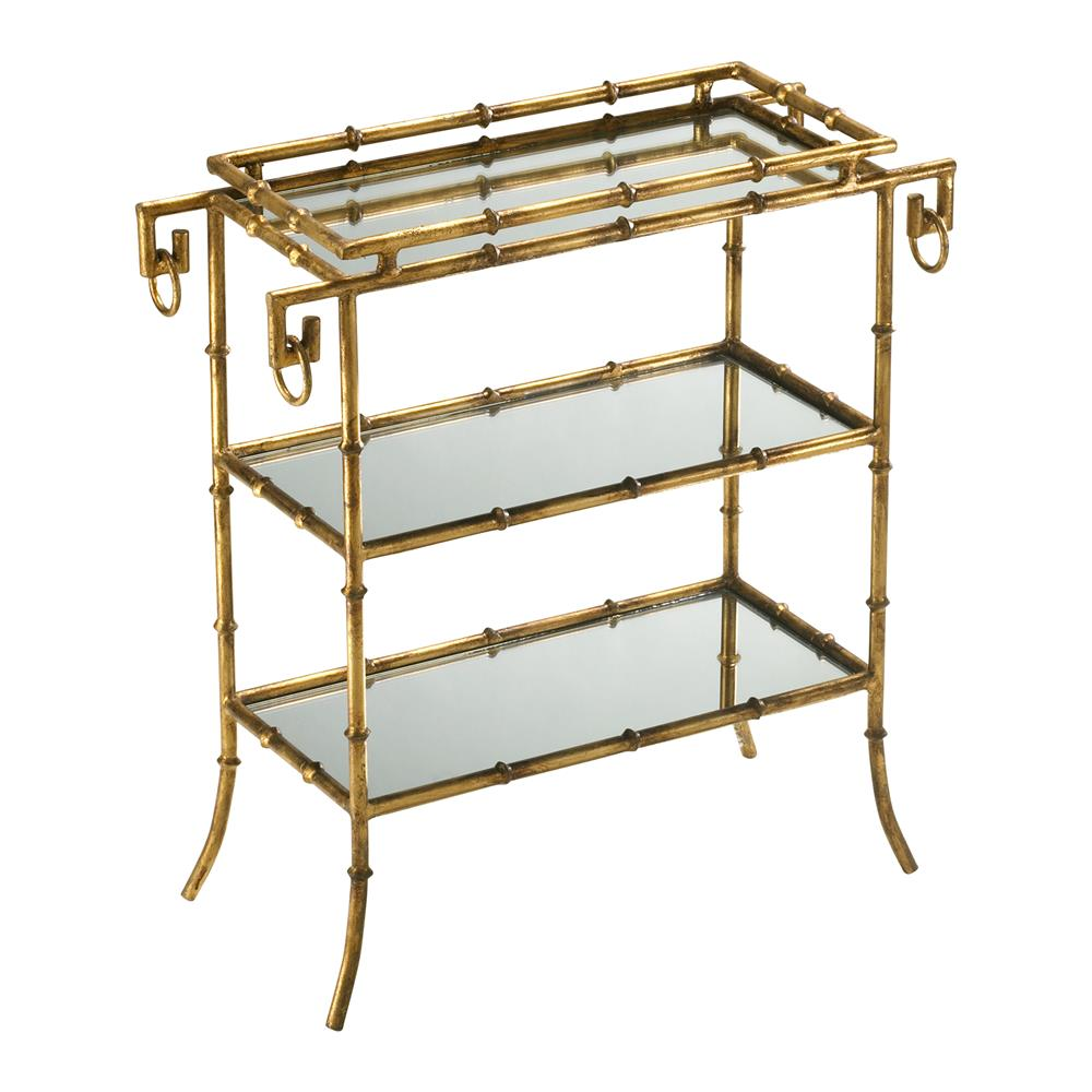 Hollywood regency gold leaf gilt bamboo mirror end table for Bamboo side table