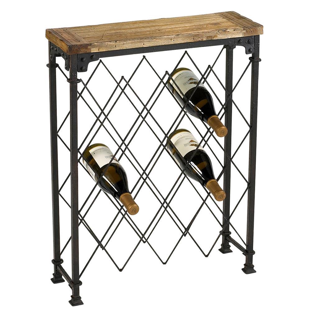 Hudson Rustic Iron Reclaimed Wood Wine Rack | Kathy Kuo Home