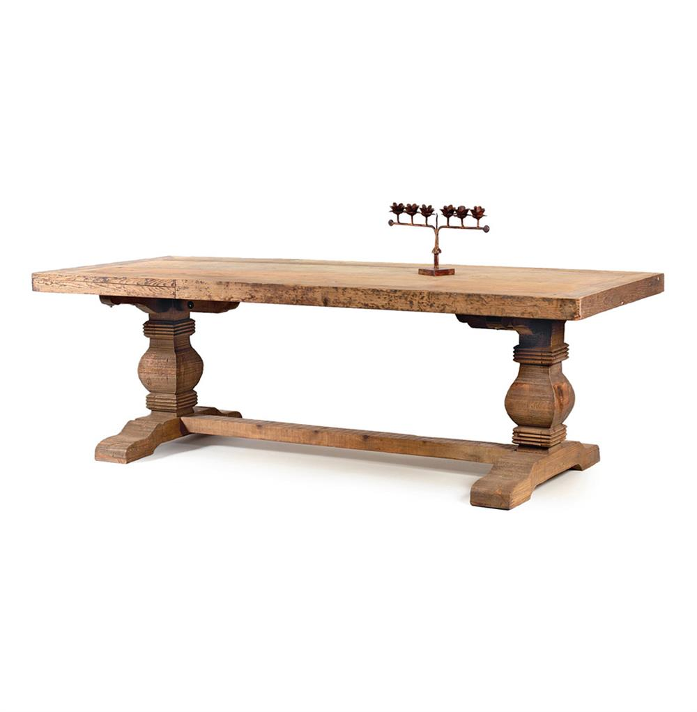 Rustic solid teak wood trestle dining table kathy kuo home Rustic wood dining table