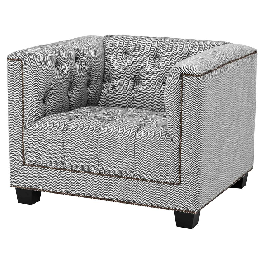 Eichholtz Paolo Modern Herringbone Grey Nailhead Trim Tufted Accent Club  Chair | Kathy Kuo Home