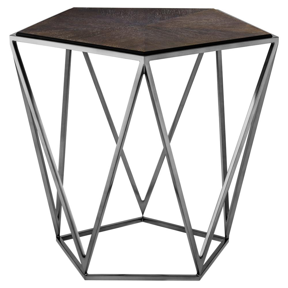 Eichholtz Pentagon Industrial Loft Charcoal Oak Side End Table