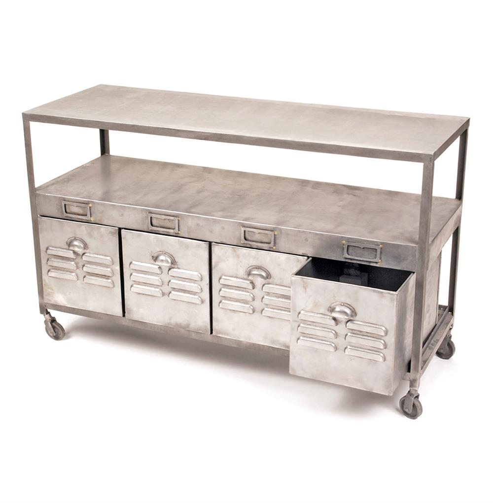 Industrial loft mill house raw steel console table with drawers industrial loft mill house raw steel console table with drawers kathy kuo home geotapseo Images