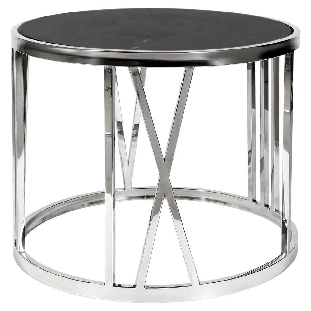 Roman Figures Modern Classic Black Marble Round Side End Table