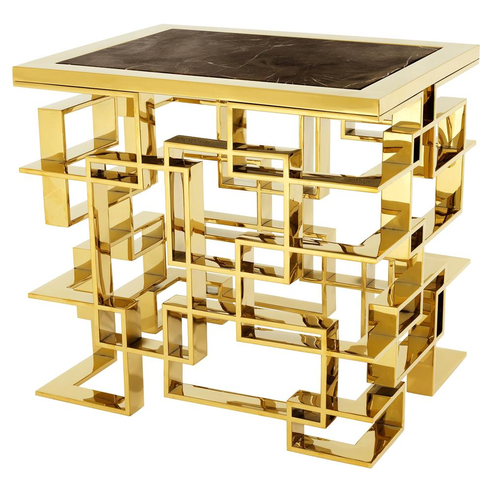 Eichholtz Spectre Hollywood Regency Gold Black Granite Top Rectangular Side  End Table | Kathy Kuo Home