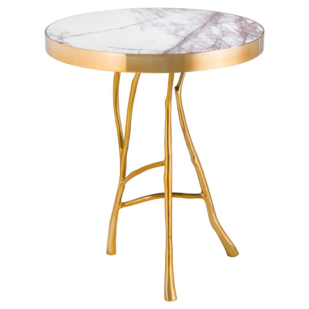 Eichholtz veritas hollywood regency white marble top round for Round marble side table