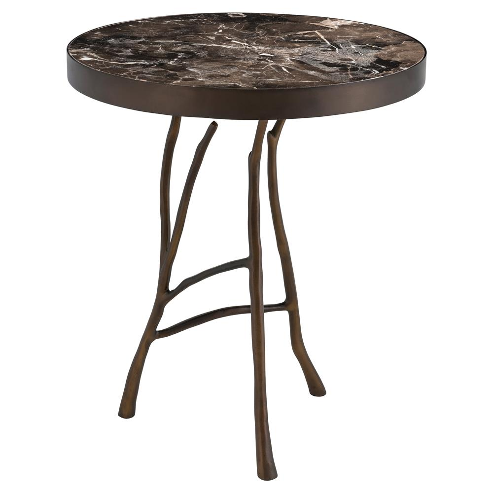 Eichholtz veritas industrial loft brown marble top round for Round marble side table