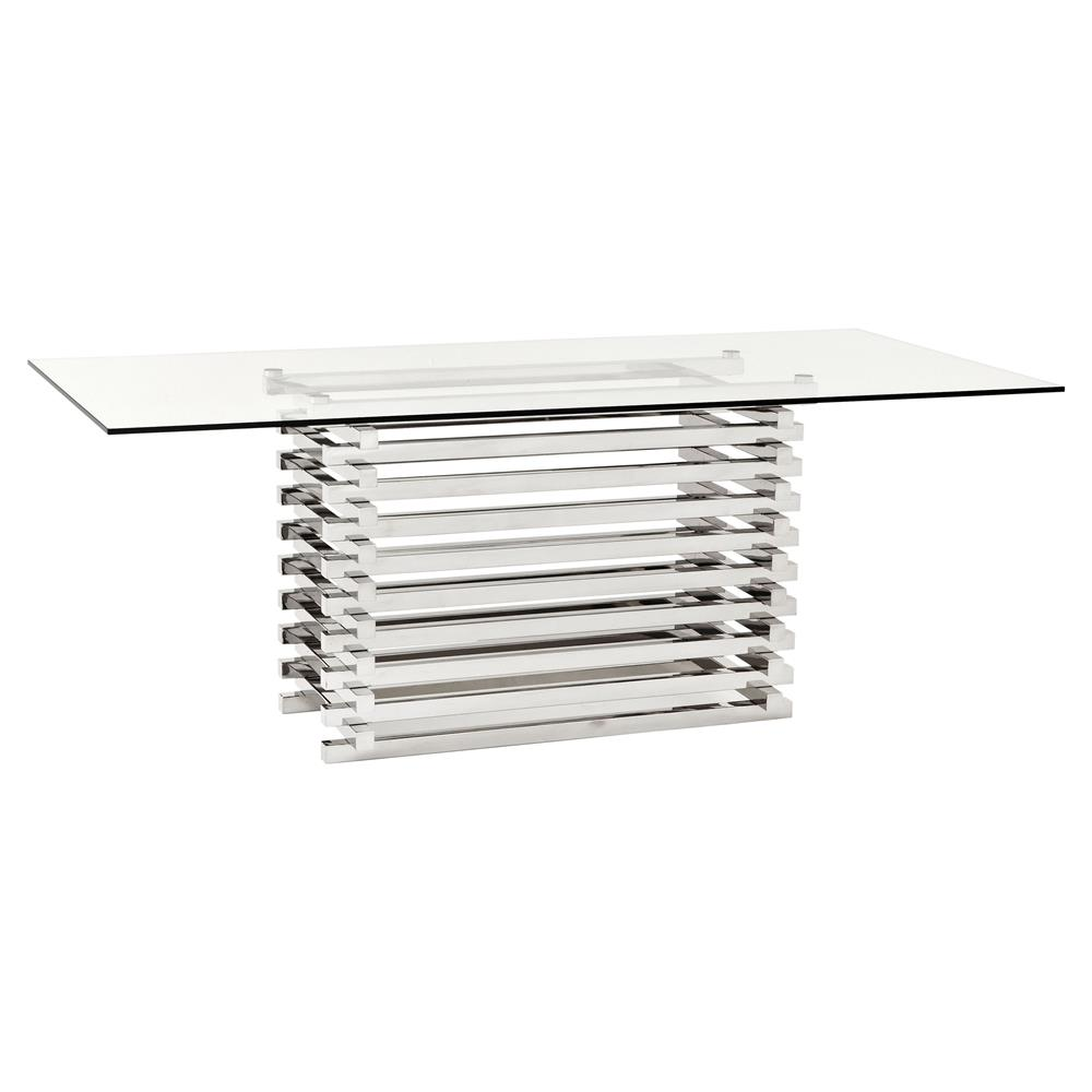 49c17535421 Eichholtz Destro Modern Classic Stainless Steel Rectangular Clear Glass  Dining Table