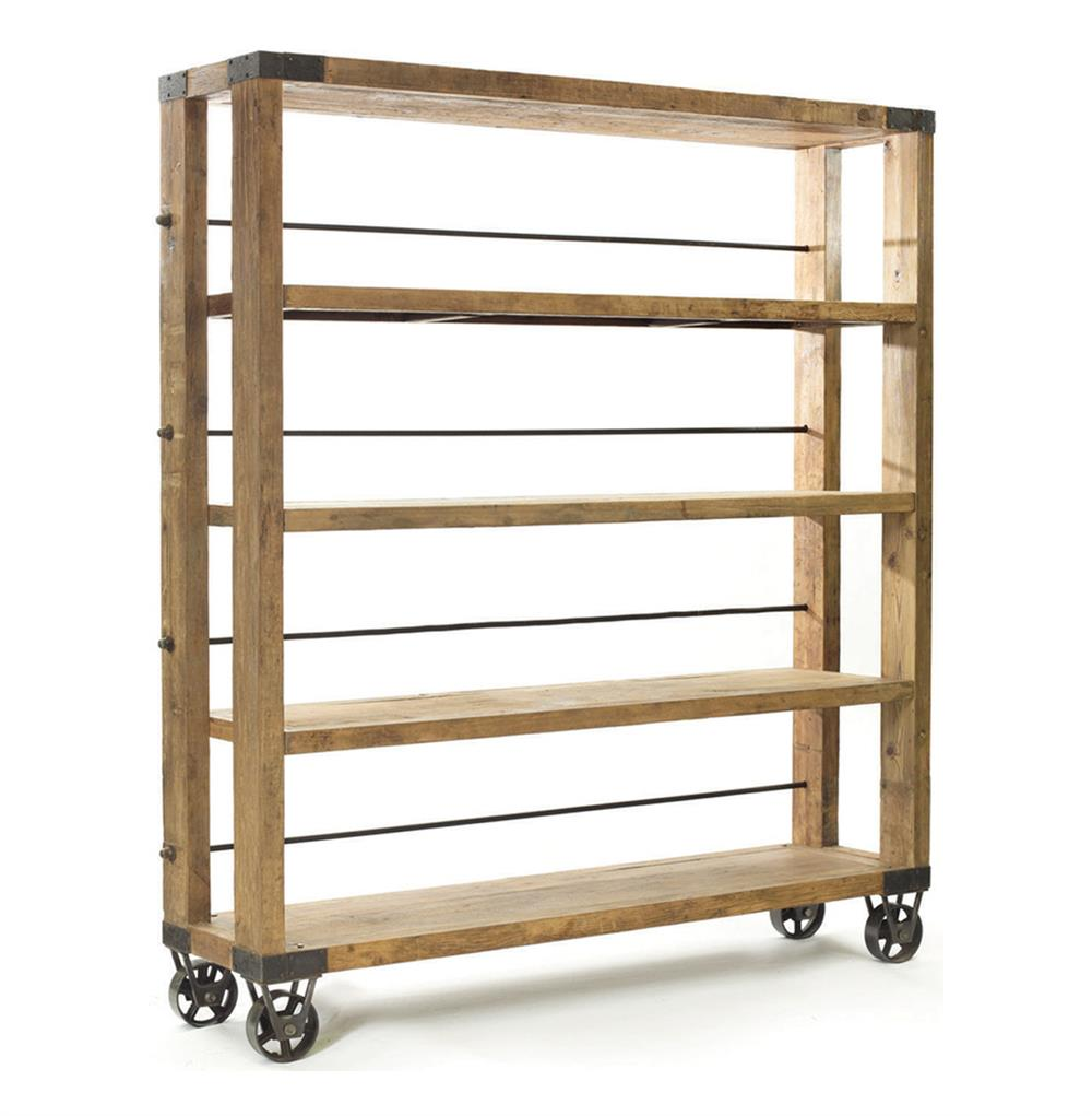 Recycled Wood Bookcase ~ Modern rustic reclaimed wood rolling bookcase kathy kuo home