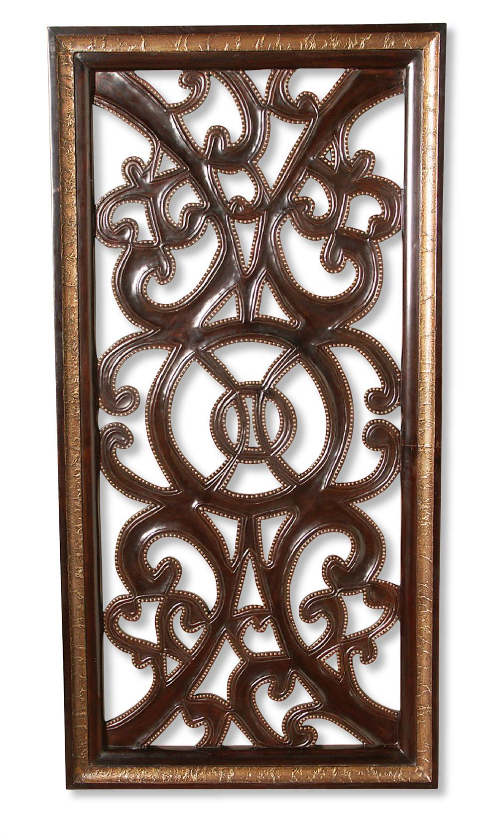 Wooden Scroll Wall Art Tangiers Spanish Rustic Wood Scroll Wall Panel Art  Kathy Kuo Home