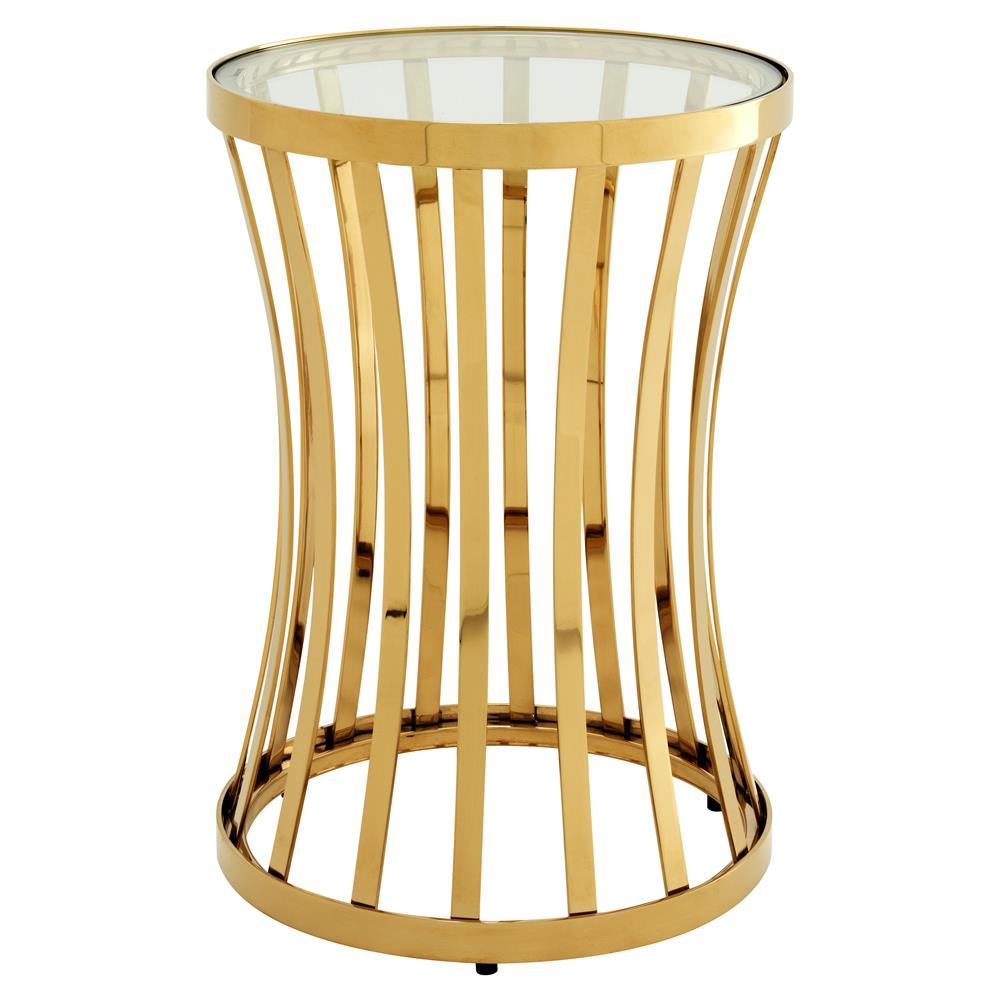Eichholtz Chilton Modern Classic Gold Glass Round Side Table | Kathy Kuo  Home