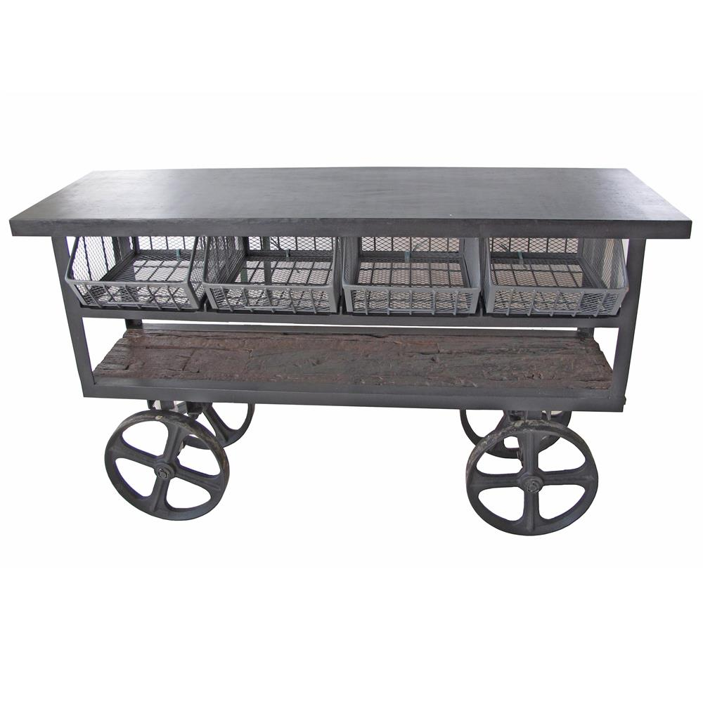 Vintage Industrial Style Reclaimed Wood Merchandise Console Table Cart |  Kathy Kuo Home
