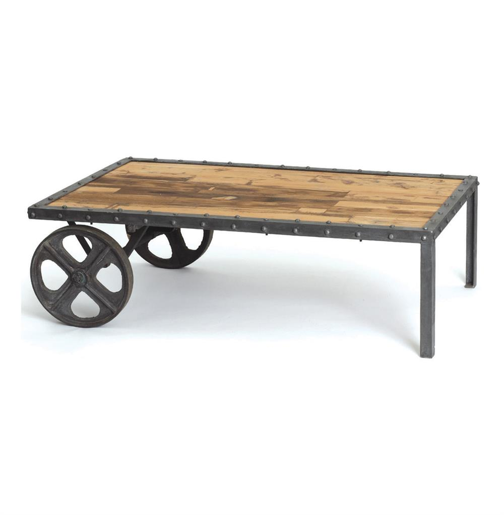 Reclaimed Wood Vintage Industrial Transfer Cart Coffee Table Kathy Kuo Home