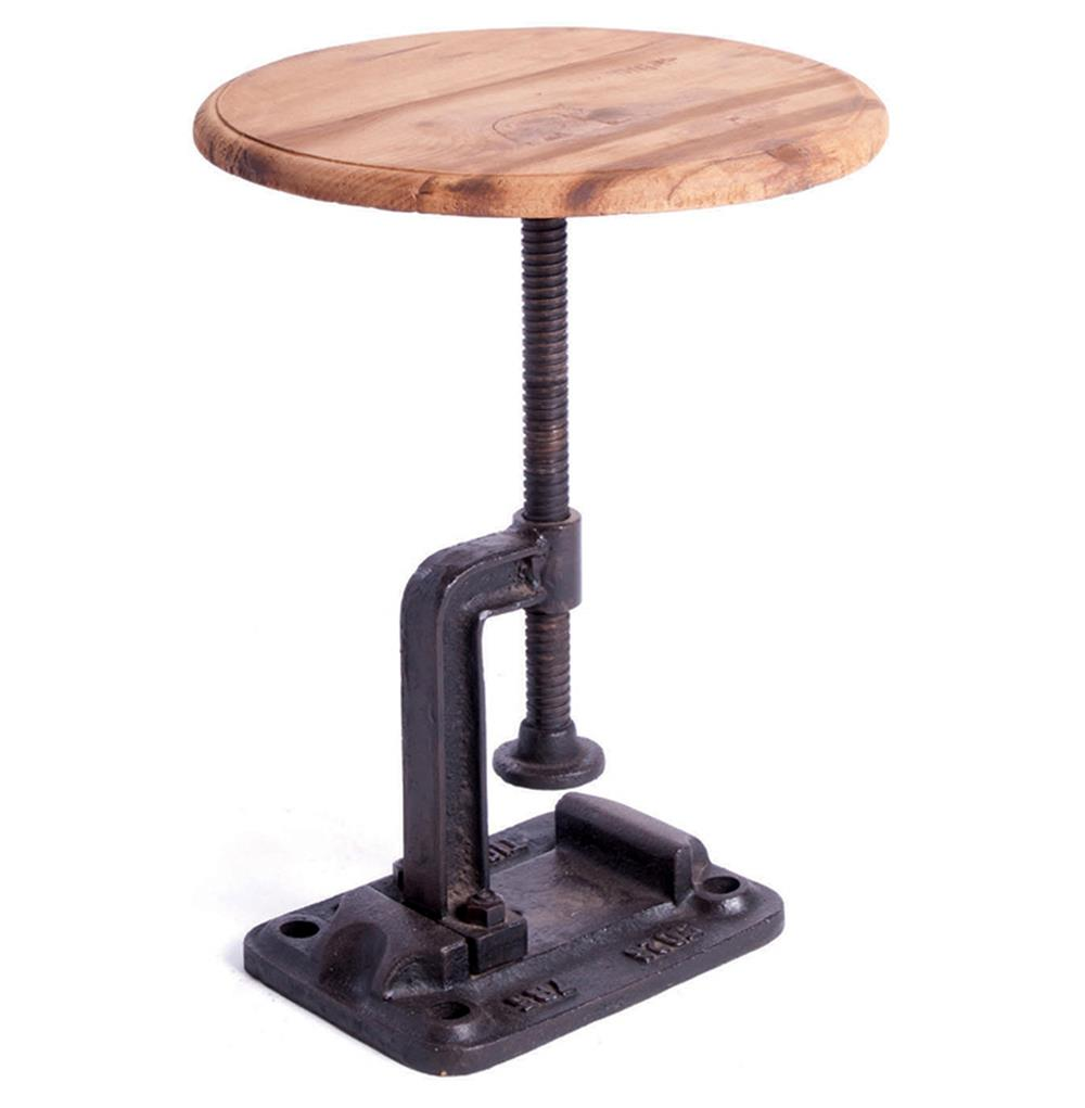 Wood And Metal Uriah Adjustable Accent Table: Vintage Industrial Reclaimed Wood Clamp Stool