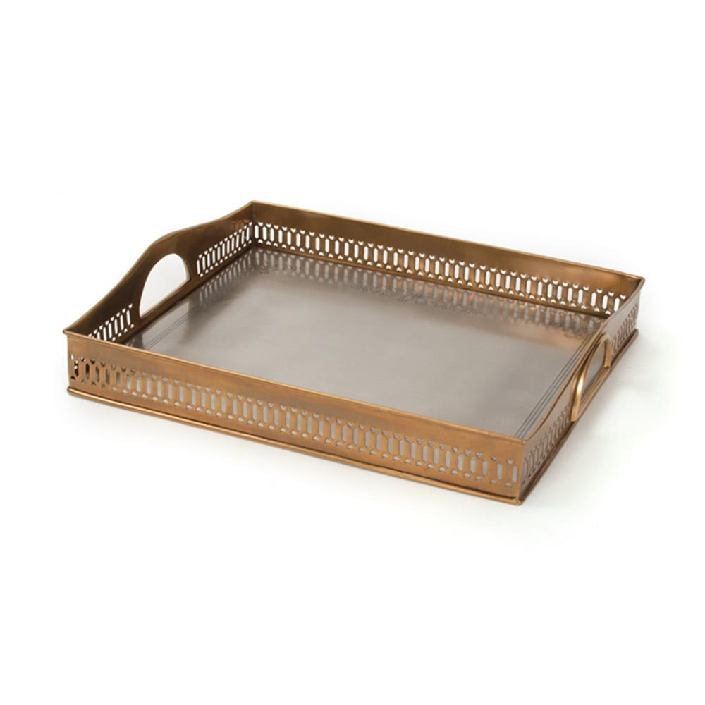 Stewards Antique Brass Pewter Gallery Rail Serving Tray