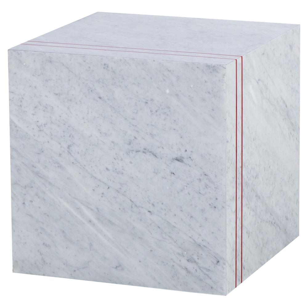 Kelly Hoppen Band Modern White Marble And Poplar Accent Cube Side Table