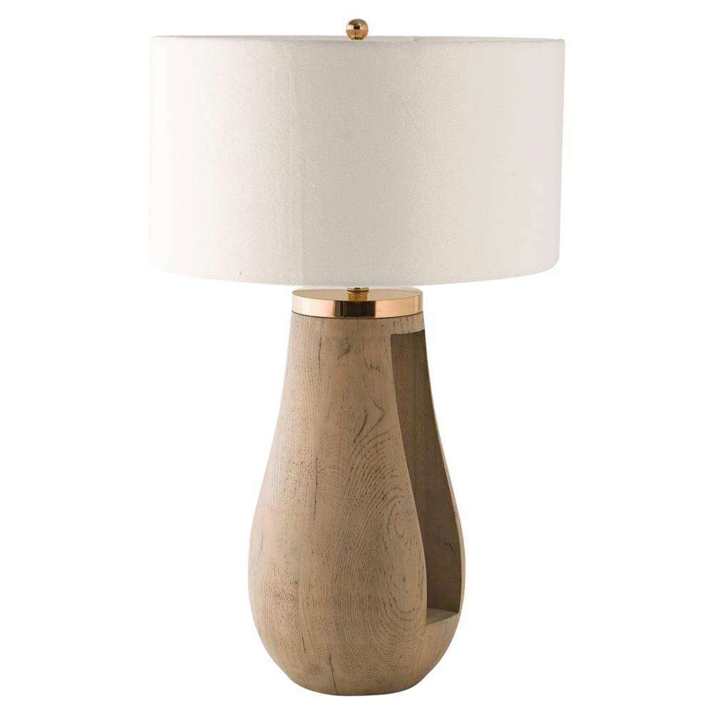 Kelly Hoppen Gray Modern Clic Oak And Stainless Steel Table Lamp Kathy Kuo Home