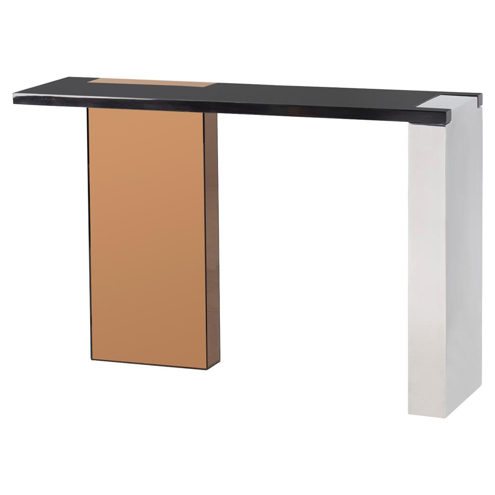 Modern black console table - Kelly Hoppen Reed Modern Black Maple Rose Gold Finger Joint Console Table Kathy Kuo Home
