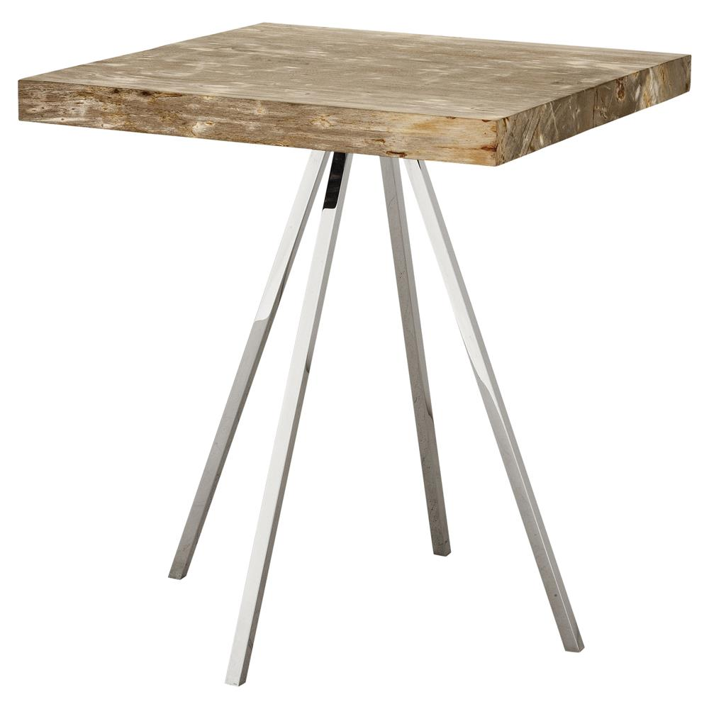 Eichholtz Beard Industrial Loft Petrified Wood Square Side Table | Kathy  Kuo Home ...