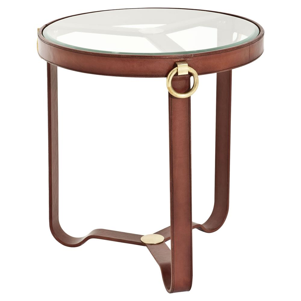 Eichholtz belgravia rustic brown leather gold round glass for Round gold side table