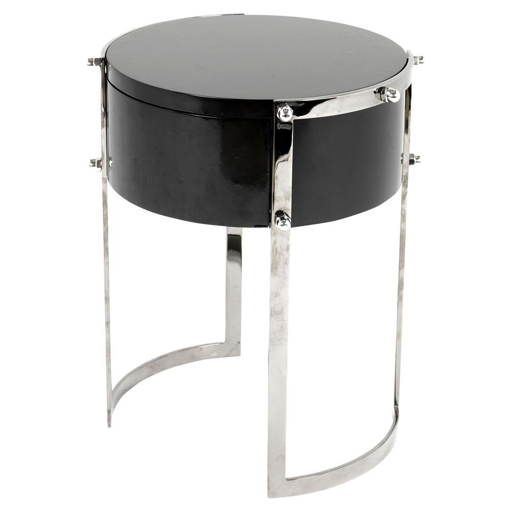 Eichholtz Coco Modern Regency Silver Black Round Storage