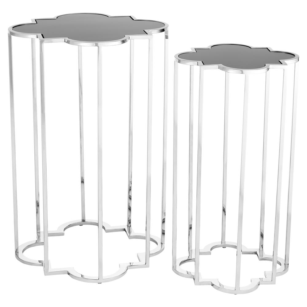 Eichholtz Concentric Hollywood Regency Black Glass Silver Side Tables   Set  Of 2 | Kathy Kuo Home