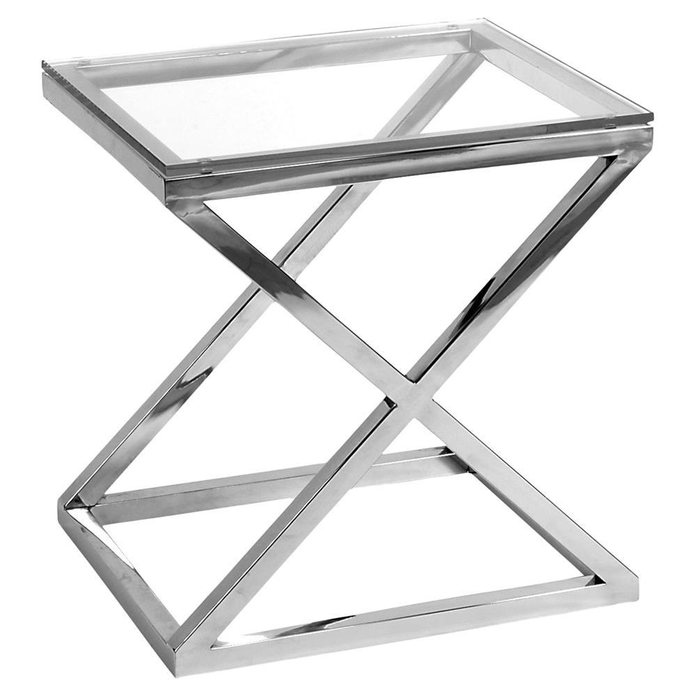 Eichholtz Criss Cross Modern Classic Rectangular Silver Glass Side Table - Rectangular glass side table