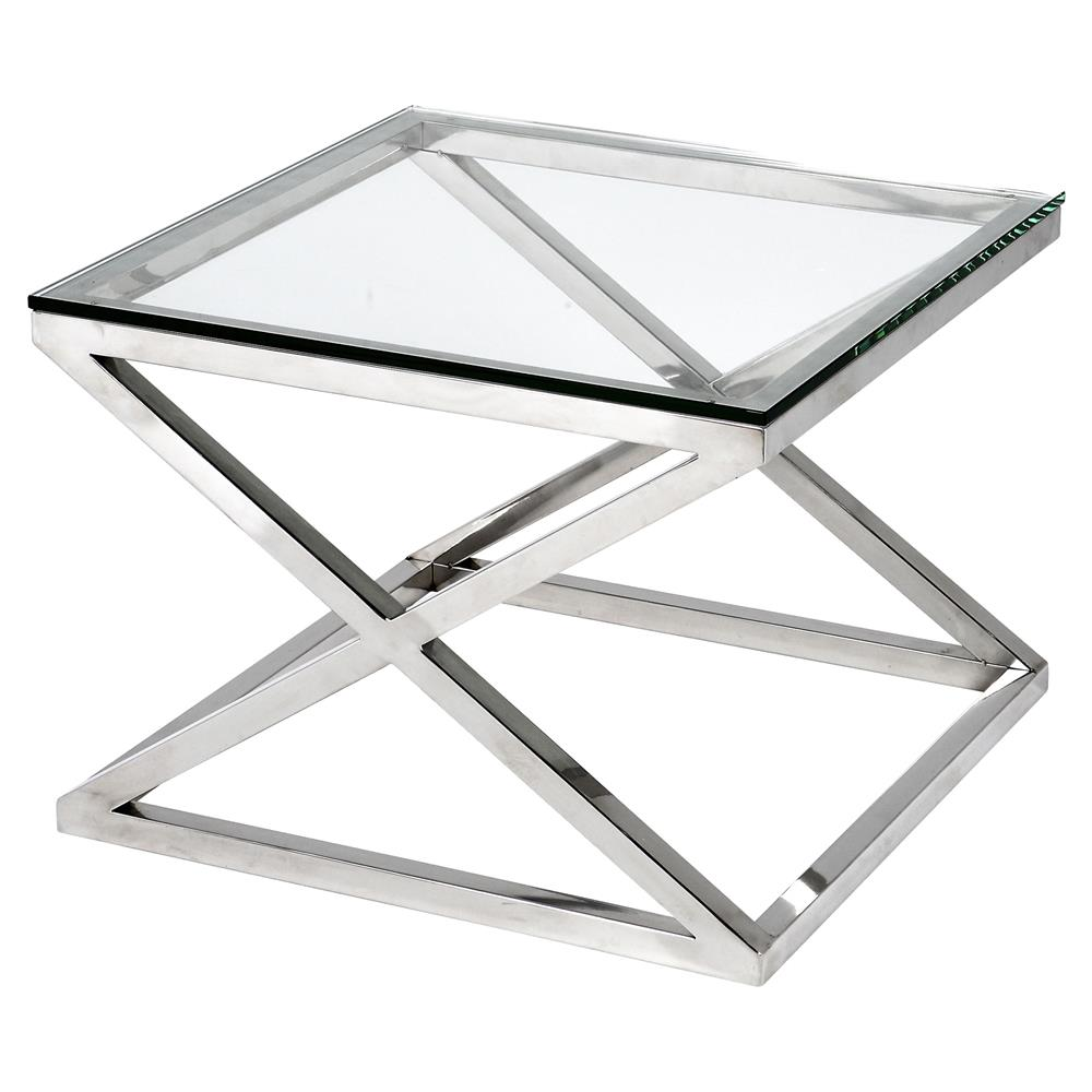 Eichholtz Criss Cross Modern Classic Square Silver Glass Side Table