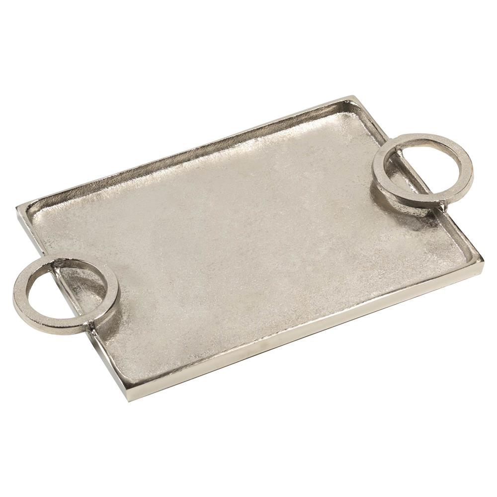 mayhill modern classic horizontal ring handled aluminum serving tray small  kathy kuo home. mayhill modern classic horizontal ring handled aluminum serving