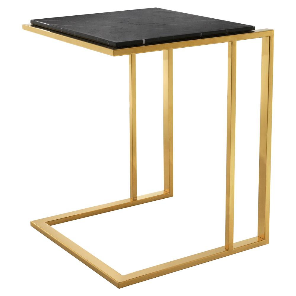 Eichholtz Modern Classic Gold Black Marble Cocktail Side Table