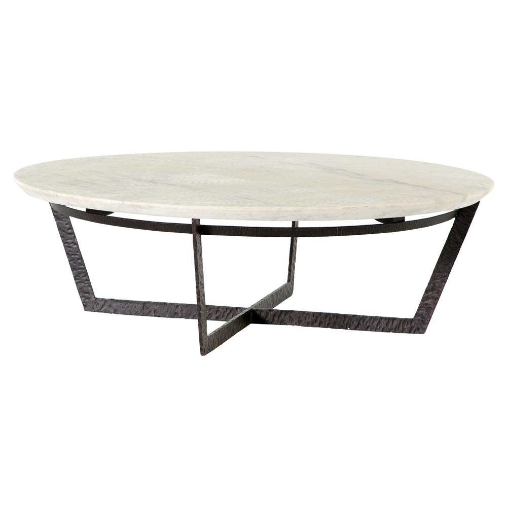Rollins Industrial Loft Bronze Iron Coffee Table: Mathers Industrial Loft White Marble Round Iron Coffee Table