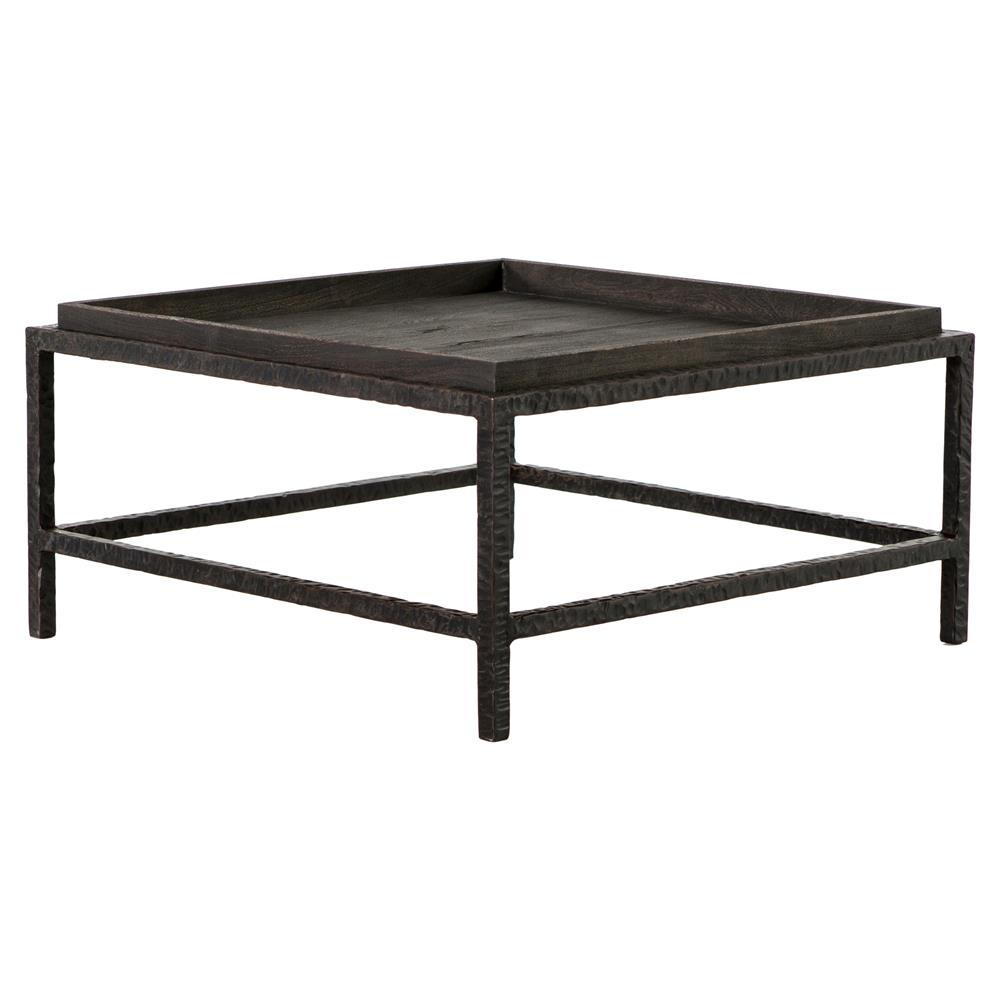 bunching coffee tables. Bonner Industrial Loft Dark Grey Wood Square Iron Bunching Coffee Table | Kathy Kuo Home Tables